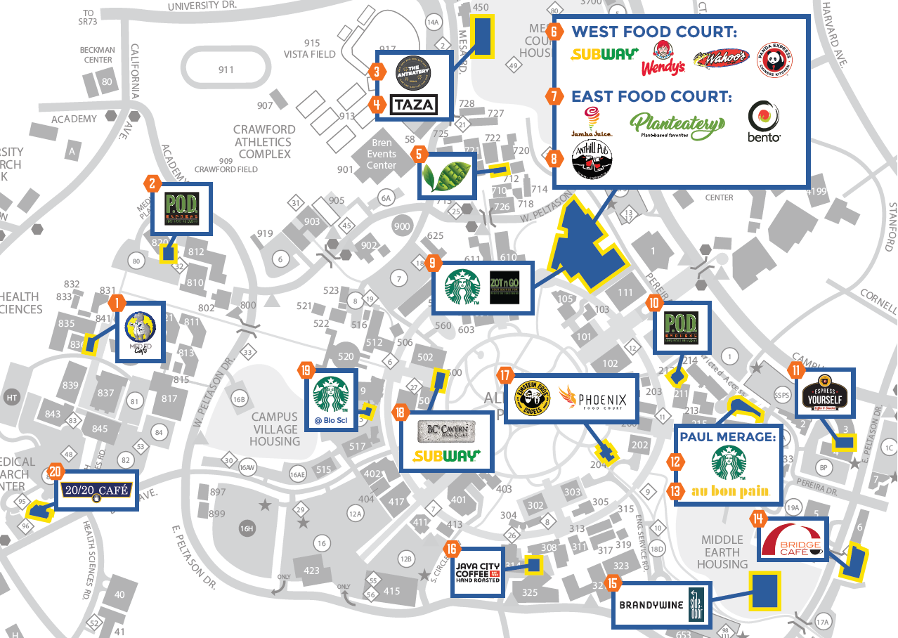 uci main campus map Dining Locations uci main campus map